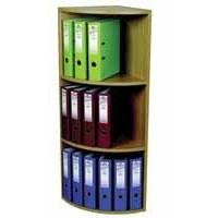 Corner Filing Unit 3 Tier for 18 Lever Arch Files Light Oak