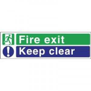 Stewart Superior Fire Exit Sign Keep Clear 600x200mm Self-adhesive Vinyl Ref SP055SAV
