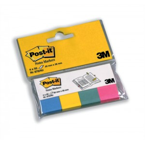 Post-it Note Markers 50 each of Fuchsia - Jade Green - Turquoise and Neon Yellow Ref 6704U [Pack 4]