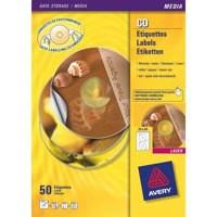 Avery CD/DVD Labels Inkjet 2 per Sheet Dia.117mm QuickDRY Ref J8676-25 [50 Labels]