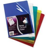 Rexel Nyrex Folder Cut Flush A4 Assorted Ref 12161AS [Pack 25]