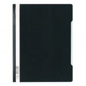 Durable Clear View Folder Plastic with Index Strip Extra Wide A4 Black Ref 257001 [Pack 50]