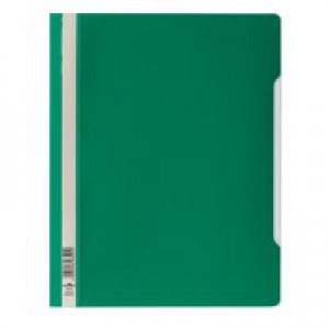 Durable Clear View Folder Plastic with Index Strip Extra Wide A4 Green Ref 257005 [Pack 50]