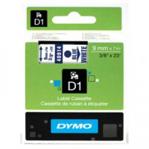 Dymo D1 Tape for Electronic Labelmakers 9mmx7m Blue on White Code S0720690
