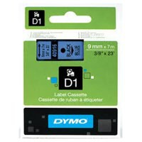 Dymo D1 Tape for Electronic Labelmakers 9mmx7m Black on Blue Ref 40916 S0720710