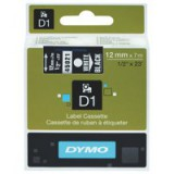 Dymo D1 Tape for Electronic Labelmakers 12mmx7m White on Black Code S0720610