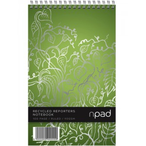 Oxford npad Shorthand Notebook Recycled Wirebound Ruled Margin 120 Pages 125x200mm Code 100080120