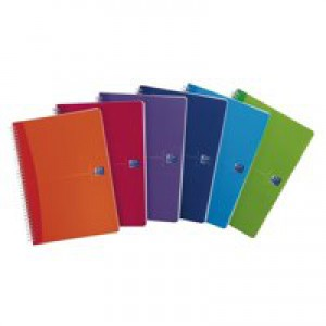 Oxford Office Notebook Twin Wirebound Plastic Ruled 180pp 90gsm A4 Bright Assorted Ref 100104241 [Pack 5]