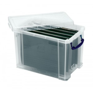 Really Useful Filing Box Plastic 10 suspension files Foolscap 24 Litre W270xD465xH290mm Ref 24C&10susp