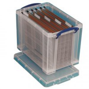 Really Useful Storage Box Plastic Lightweight Robust Stackable 24 Litre 290x465x270mm Clear Code 24C