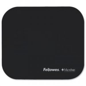 Fellowes Microban Mousepad Antibacterial with Non-slip Base Black Ref 5933907