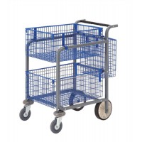 Image for Versapak Minor Plus Mail Trolley 2 Front Baskets Rear Pannier W584xD788xH914mm Blue and Grey Ref MT3-SIL