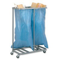 Versapak Sackholder Trolley Double for Mail W790xD400xH1115mm Silver Ref SH2-C