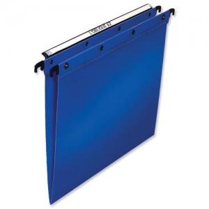 Elba Suspension File Polypropylene Vertical 100sheet V-Base Foolscap Blue Ref 100330370 [Pack 25]