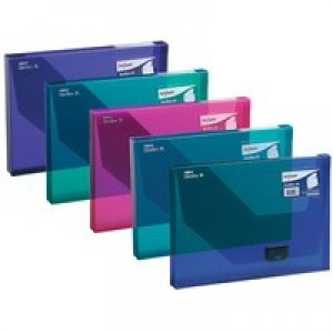 Snopake DocBox Box File Polypropylene with Push Lock 25mm Spine A4 Assorted Ref 14832 [Pack 5]