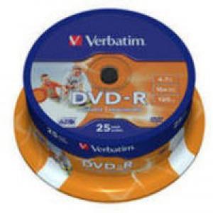 Verbatim DVD-R Recordable Disk Write-once Inkjet Printable Spindle 16x 120min 4.7Gb Ref 43538 [Pack 25]