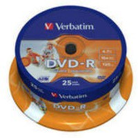 Verbatim DVD-R Recordable Disk Write-once Inkjet Printable Spindle 16x 120min 4.7Gb Ref 43538 [Pack 25]