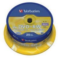 Verbatim DVD+RW Rewritable Disk Spindle 1x-4x Speed 120min 4.7Gb Ref 43489 [Pack 25]