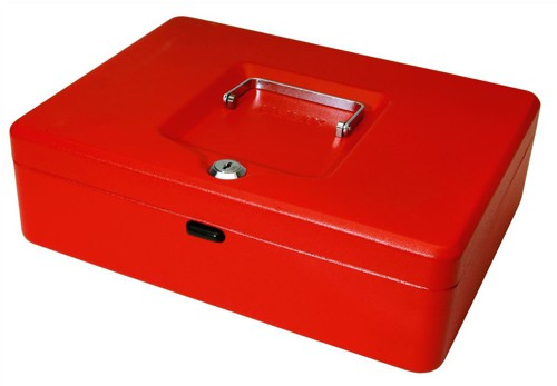 Cash Box with Simple Latch and 2 Keys plus Removable Coin Tray 300mm Red