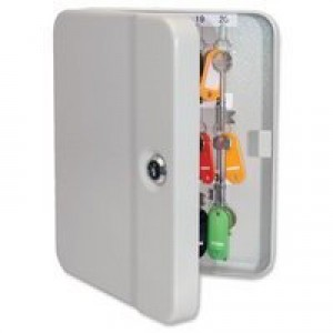 Key Cabinet Steel with Lock and Wall Fixings 30 Colour Tags 30 Numbered Hooks Grey