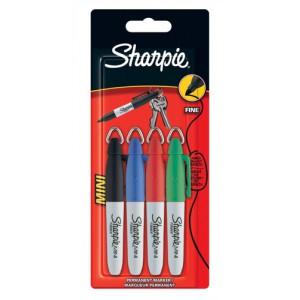Sharpie Mini Permanent Marker Portable Fine Assorted Black Blue Red Green Ref S0811250 [Wallet 4]