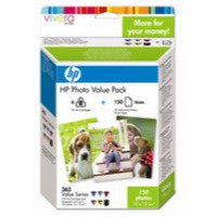 Hewlett Packard [HP] No. 363 Photo Pack Inkjet Cartridges + Paper 10x15cm 150 Sheet 6 Colour Ref Q7966EE