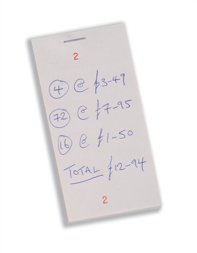 Kitchen Pad with Counterfoil Numbered 1-100 65x125mm [Pack 50]
