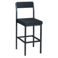 Image for Trexus High Stool with Upholstered Backrest and Seat W410xD410xH700mm Charcoal