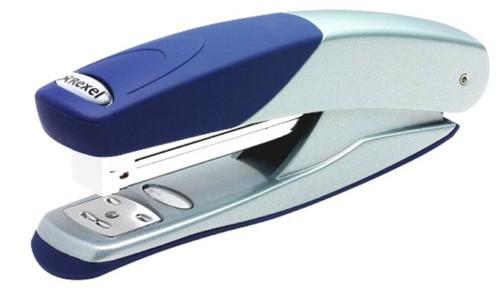 Rexel Stapler Torador Full Strip Metal Rubber Base and Cap Staples 25 Sheets Silver-Blue Ref 2101203