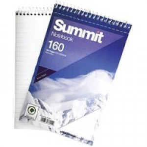 Summit Notebook Wirebound Headbound Ruled 60gsm 160pp 125x200mm Ref 100080235 [Pack 10]