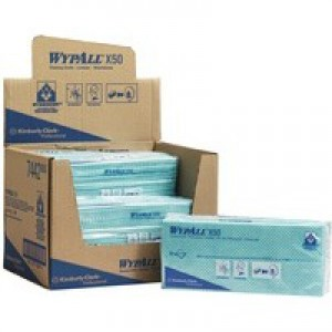 Wypall X50 Cleaning Cloths Absorbent Strong Non-Woven Tear-Resistant Green Pack 50 Code 7442