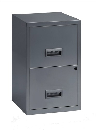 Filing Cube Cabinet Steel Lockable 2 Drawers A4 Silver