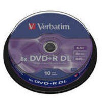 Verbatim DVD+R Recordable Disk Double Layer Write-once Spindle 8x 240min 8.5Gb Ref 43666 [Pack 10]