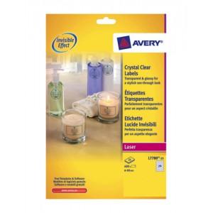 Avery Crystal Clear Labels Laser Circular 24 per Sheet Dia.40mmTransparent Ref L7780-25 [600 Labels]