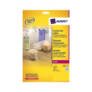 Avery Crystal Clear Laser Labels 40 per Sheet 45.7x25.4mm Transparent 1000 Labels Code L7781-25