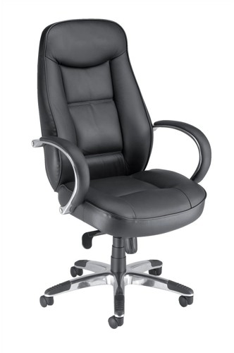 Adroit Executive Languedoc Armchair Back H720mm W550xD530xH480-560mm Leather Black Ref 10488-01