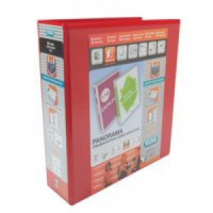Elba Presentation Lever Arch File Clear Cover Pockets 2-Ring A4 Red Ref 400008437 [Pack 5]
