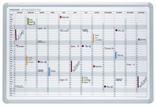 Franken Year Calendar Planner with 2 Markers 3 Magnets Day Grid 57x13mm W900xH600mm Ref JK703GB