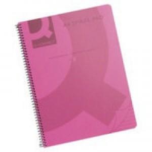 Q-Connect Pink Spiral A4 Notebook 160Pg