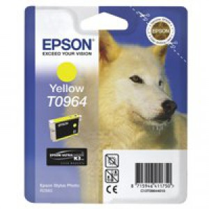 Epson T0964 Inkjet Cartridge UltraChrome K3 Husky Page Life 890pp Yellow Ref C13T09644010