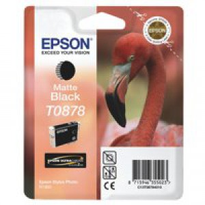 Epson T0878 Inkjet Cartridge UltraChrome Hi-Gloss2 Flamingo Page Life 520pp Matt Black Ref C13T08784010