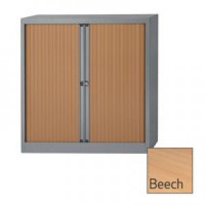 Bisley A4 EuroTambour Including 2 Shelves W1000xD430xH1030mm Beech Shutters Silver Frame Ref ET410/10/2SB