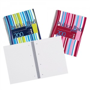 Pukka Pad Jotta Notebook Wirebound Plastic Ruled 80gsm 4 Hole 200pp A4 Assorted Ref JP018 3/4 [Pack 3]