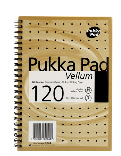 Pukka Pad Vellum Notebook Wirebound Perforated Ruled 80gsm 120pp A5 Vellum Ref VJM/2 [Pack 3]