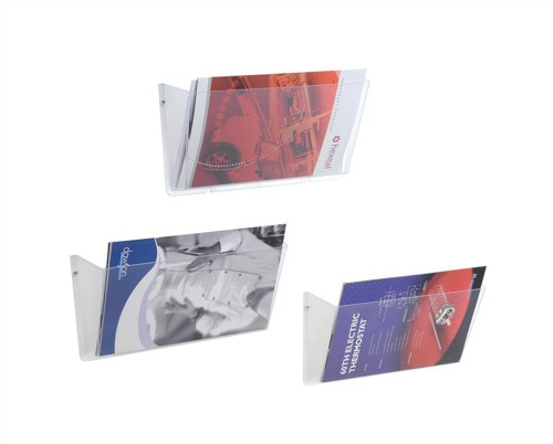 Literature Wall Pockets Unbreakable with Brackets Landscape A4 Crystal [Pack 3]