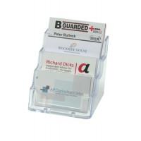 Image for Business Card Holder Tiered Desktop 4 Pockets Clear