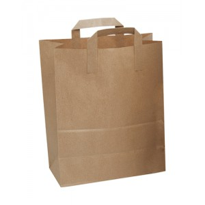SOS Paper Bag Large Take-Away Brown Block Bottom Flat Handle