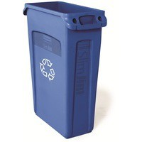 Rubbermaid Slim Jim Recycling Bin with Venting Channels W558xD279xH762mm 87 Litres Blue Ref 3540-07