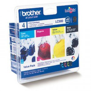 Brother Inkjet Cartridge Value Pack Page Life 1080pp Black/Cyan/Magenta/Yellow Ref LC980VALBP [Pack 4]