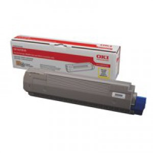 OKI Laser Toner Cartridge Page Life 8000pp Yellow Ref 44059105